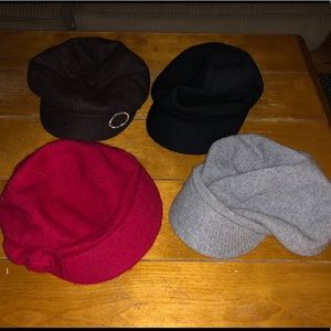 Lot of 4 Women's Winter Hats, 3 Wool, 1 Sweater